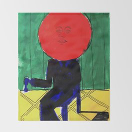 Tomato Face - Abstract Surrealism psychedelic illustration Throw Blanket