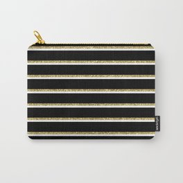 Black Gold White Stripe Pattern 2 Carry-All Pouch