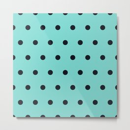 Small Black Dots on Aqua Metal Print