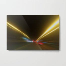 Light Trails in the Dark, Traffic Light Trails, Abstract Traffic Lines Metal Print