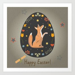 Festive Easter Egg with Cute Character of Fox Art Print