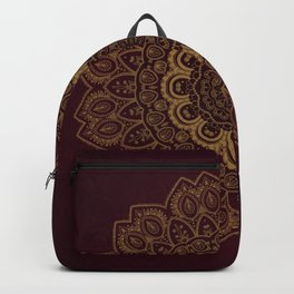 Gold Mandala on Royal Red Background Backpack