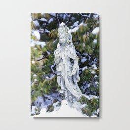 Quan Yin in Winter Metal Print