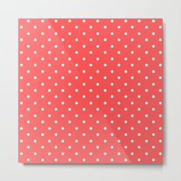 Dotted (White & Red Pattern) Metal Print