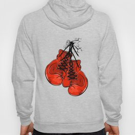 Red boxing gloves hanging on a nail Hoody