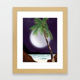 Tropical Moon and beach poster. Framed Art Print