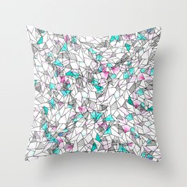 Pink and Teal Abstract Watercolor and Geometric Throw Pillow