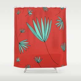 Teal and Red Botanical Nature Drawing by Emma Freeman Designs Shower Curtain