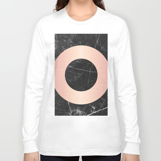 Black Marble with Pink Circle Long Sleeve T-shirt