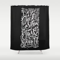 sia Shower Curtains featuring Elastic Heart B&W by Jillian Adel