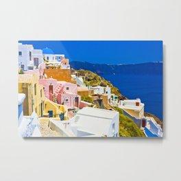 Colorful Santorini Metal Print