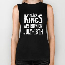 Kings Are Born On July 16th Funny Birthday T-Shirt Biker Tank