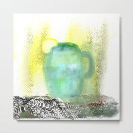 Lemon Water with a Black and White Towel Metal Print