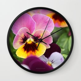 Colorful Pink and Yellow Pansy Flower Wall Clock