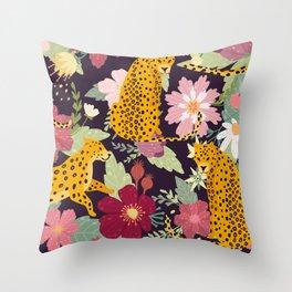 flower leopard Throw Pillow