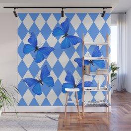 BLUE BUTTERFLIES & ARGYLE PATTERNS Wall Mural