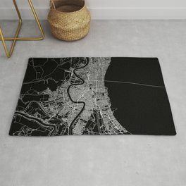 New Orleans Black Map Rug