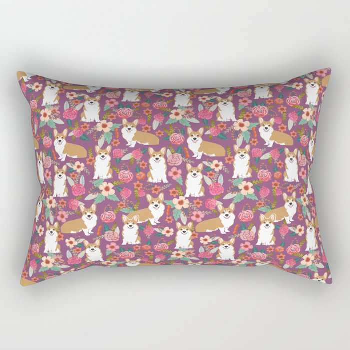 Corgi Florals - vintage corgi and florals gift gifts for dog lovers, corgi clothing, corgi decor, pu Rectangular Pillow