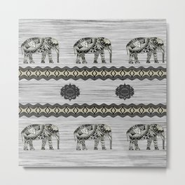 Decorated Indian Elephants Metal Print