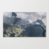 dragons Canvas Prints featuring Dragons by Klaudia Jozwiak