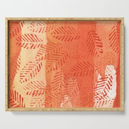 Tomato red abstract painting Serving Tray