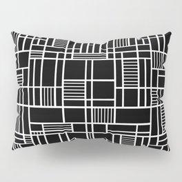 Map Lines Black Pillow Sham