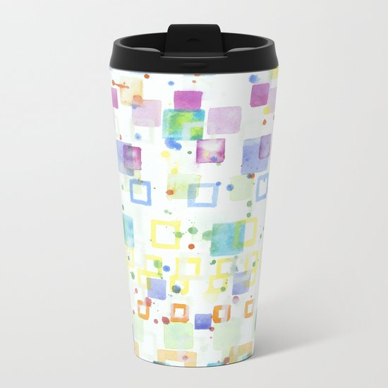 Light Squares with Drops Pattern Metal Travel Mug