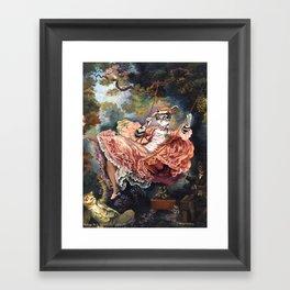 Homage to Fragonard Lady Cat on the Swing Framed Art Print