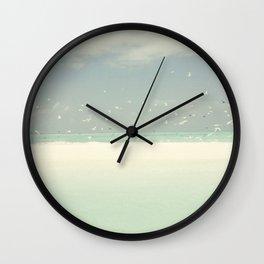 Blue Skies Birds Ocean And Seashore Wall Clock