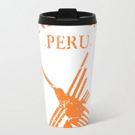 Orange Nazca Lines Hummingbird Distressed Travel Mug