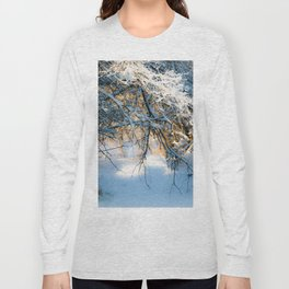 Winter light illuminates snow covered branches Long Sleeve T-shirt