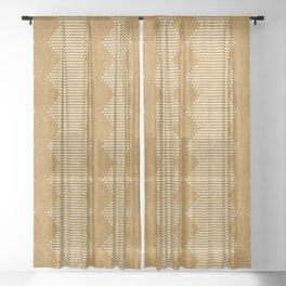 mudcloth diamonds - mustard Sheer Curtain