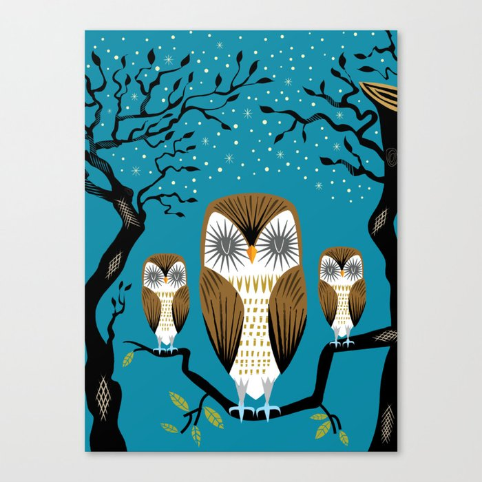 Three Lazy Owls Canvas Print