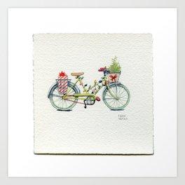 A Christmas Bicycle - Drawing #29 Art Print
