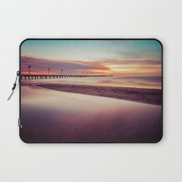 Minimalist sunset seascape at low tide with long pier Laptop Sleeve
