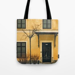 Brown & Yellow Budapest Facade Tote Bag