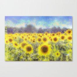 Sunflower Fields Of Dreams Art Canvas Print