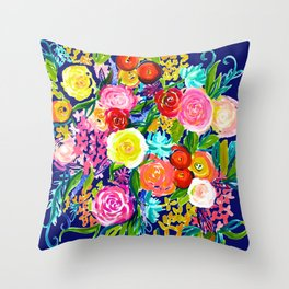 Neon Bright Summer Floral Painting on Navy Background Throw Pillow
