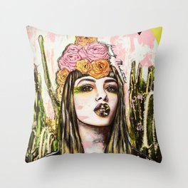 modern bohemian art heavily meditated Throw Pillow