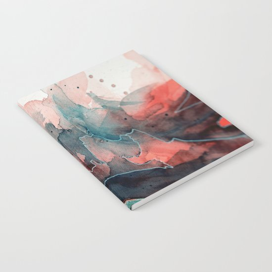 Watercolor dark green & red, abstract texture Notebook
