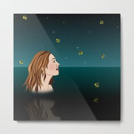 Swimming With Fireflies Metal Print