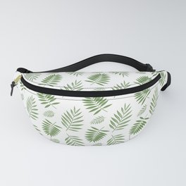 Tropical Leaves white backgound Fanny Pack