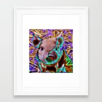 piglet Framed Art Prints featuring Funky Piglet by MehrFarbeimLeben