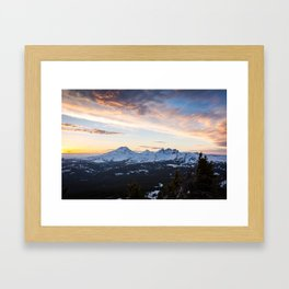 Three Sisters Wilderness Colorful Sunset Framed Art Print