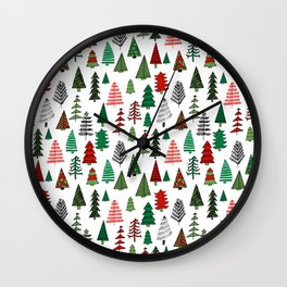 Christmas tree forest minimal scandi patterned holiday forest winter Wall Clock