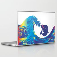 hokusai Laptop & iPad Skins featuring Hokusai Rainbow & Babydolphin by FACTORIE
