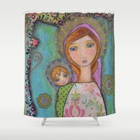 madonna Shower Curtains featuring Blonde Madonna III by Flor Larios Art