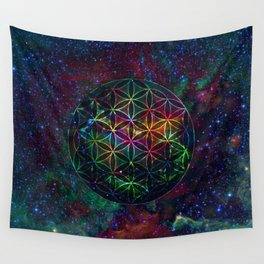 Flower of Life in the Universe - Universe in the Flower of Life Wall Tapestry