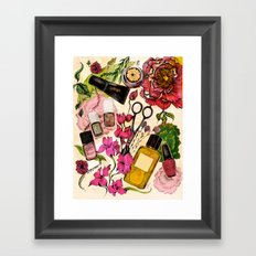 Nail polish and peonies Framed Art Print