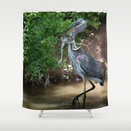 Great Blue Heron Catching Huge Frog - 2 Shower Curtain